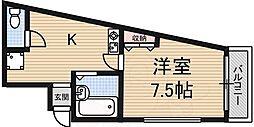 ガーデンハイツ福井 2階1DKの間取り