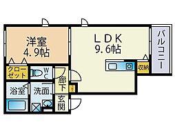 福岡市地下鉄七隈線 野芥駅 徒歩12分の賃貸アパート 2階1LDKの間取り