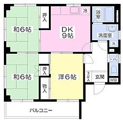 きん氷ビル 2階3DKの間取り