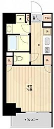 ザ・パーククロス広尾 6階ワンルームの間取り