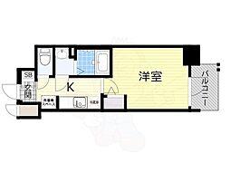 阪急千里線 天神橋筋六丁目駅 徒歩4分の賃貸マンション 4階1Kの間取り