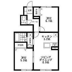 神奈川県大和市西鶴間6丁目の賃貸アパートの間取り