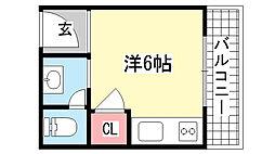 兵庫県神戸市灘区徳井町3丁目の賃貸マンションの間取り