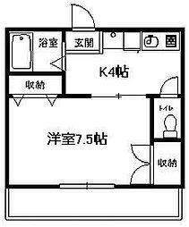 神奈川県平塚市御殿3丁目の賃貸アパートの間取り