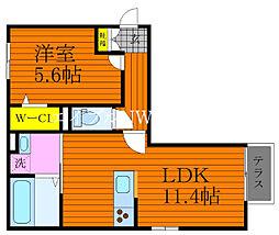 JR宇野線 大元駅 徒歩36分の賃貸アパート 1階1LDKの間取り