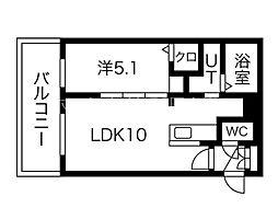 イルセントラレ南12条 5階1LDKの間取り