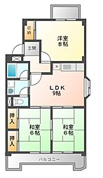 七反田ハイツA棟[3階]の間取り