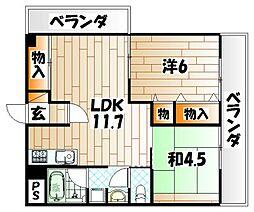 富田ハイツ[2階]の間取り