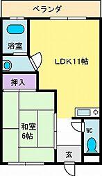コーポ石田[303号室]の間取り