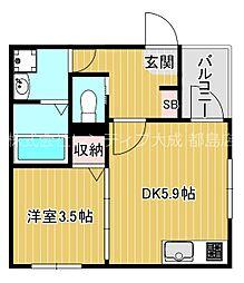 Osaka Metro谷町線 千林大宮駅 徒歩10分の賃貸アパート 1階1DKの間取り
