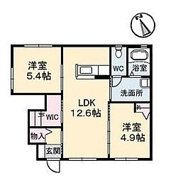 パークビレッジ B棟[1階]の間取り