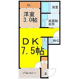 愛知県名古屋市中村区森田町1丁目の賃貸アパートの間取り