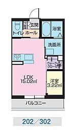 JR奥羽本線 山形駅 幸町下車 徒歩1分の賃貸マンション 2階1LDKの間取り