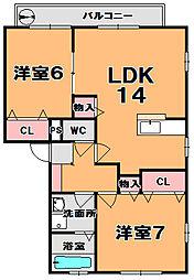 奈良県奈良市南京終町3丁目の賃貸アパートの間取り