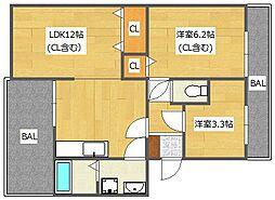 モダンアパートメント高槻城南[3階]の間取り