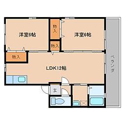 奈良県香芝市高の賃貸アパートの間取り
