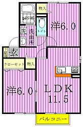 クレールルピナスA・B[B101号室]の間取り