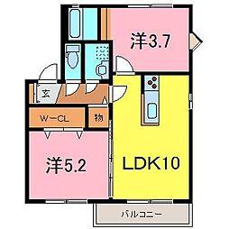 サニーハウスA[0201号室]の間取り