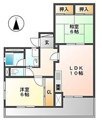 レインボー青柳[3階]の間取り