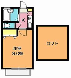 埼玉県北本市東間1丁目の賃貸アパートの間取り