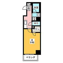 ラグゼナ武蔵新城 2階1Kの間取り