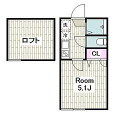 ザ・ハウス上平間 1階1Kの間取り