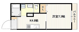 JR山陽本線 廿日市駅 徒歩12分の賃貸アパート 3階1Kの間取り