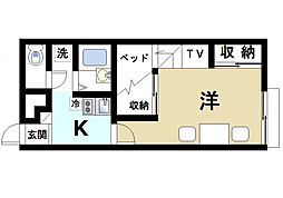 JR片町線(学研都市線) 木津駅 徒歩12分の賃貸アパート 1階1Kの間取り