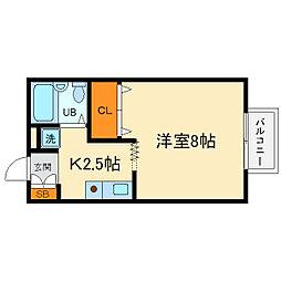 大阪府箕面市小野原東2丁目の賃貸アパートの間取り