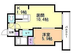 サンコート本郷通ガーデンヒルズ 13階1LDKの間取り