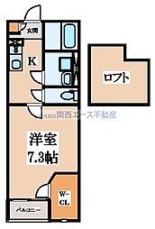 JR片町線(学研都市線) 徳庵駅 徒歩12分の賃貸アパート 1階ワンルームの間取り