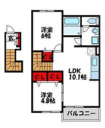 マーベラスコートS C棟[2階]の間取り