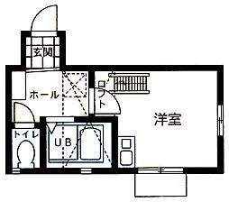 神奈川県横浜市鶴見区下末吉5の賃貸アパートの間取り