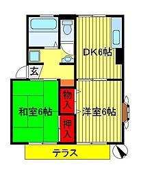 千葉県流山市東初石2の賃貸アパートの間取り