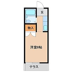 スカイエンジュA棟 1階ワンルームの間取り