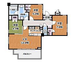 プライムアーバン新宿夏目坂タワーレジデンス 2階3LDKの間取り