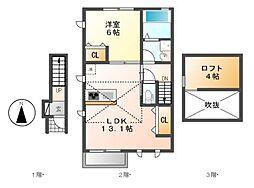 ベルソレイユ春岡A棟[2階]の間取り