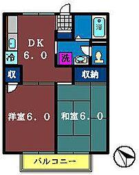 千葉県鎌ケ谷市中央2丁目の賃貸アパートの間取り