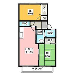 愛知県丹羽郡大口町余野5丁目の賃貸アパートの間取り