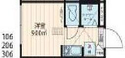 西武新宿線 中井駅 徒歩1分の賃貸マンション 地下1階ワンルームの間取り