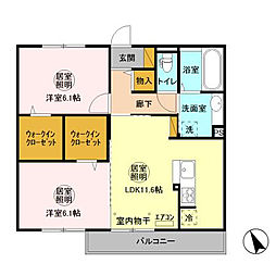 D-room大野原中央 A[302号室]の間取り