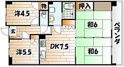 福岡県北九州市門司区永黒2丁目の賃貸マンションの間取り