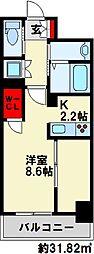 Erde三萩野 7階1Kの間取り