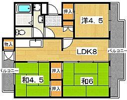 男山第四住宅 316棟[201号室]の間取り