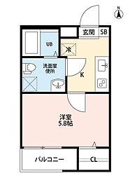 愛知県名古屋市中村区長筬町4丁目の賃貸アパートの間取り