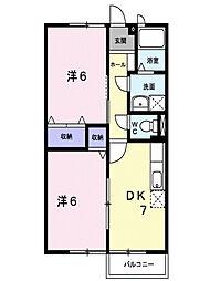 広島県福山市大谷台1丁目の賃貸アパートの間取り