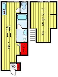 都営三田線 千石駅 徒歩11分の賃貸アパート 1階ワンルームの間取り