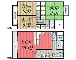 [タウンハウス] 千葉県千葉市若葉区みつわ台2丁目 の賃貸【/】の間取り