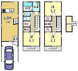 一戸建て(西向日駅から徒歩14分、76.36m²、1,580万円)
