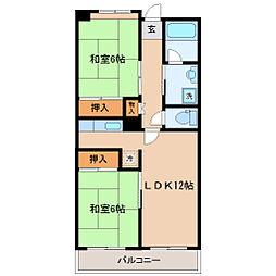 仙台市地下鉄東西線 宮城野通駅 徒歩4分の賃貸マンション 6階2LDKの間取り